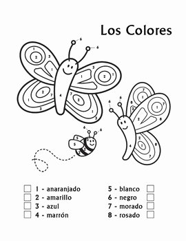 Colors In Spanish Worksheet Awesome Los Colores Spanish Colors Color by Number butterfly