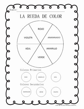 Colors In Spanish Worksheet Beautiful Color Wheel & Color Mixing Worksheets In English and