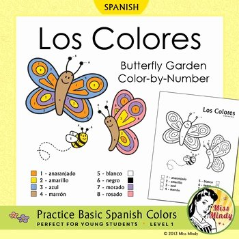 Colors In Spanish Worksheet Beautiful Los Colores Spanish Colors Color by Number butterfly