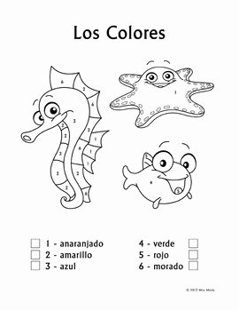 Colors In Spanish Worksheet Elegant Los Colores Spanish Colors Color by Number Worksheets