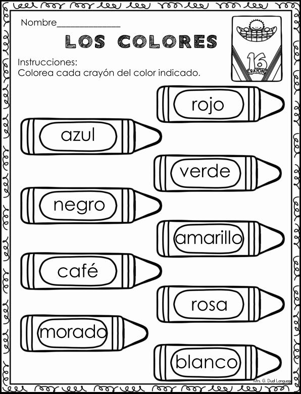 Colors In Spanish Worksheet Fresh A La Escuela Hojas De Trabajo School Literacy Packet In