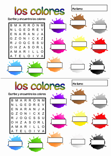 Colors In Spanish Worksheet Inspirational Spanish Colours Wordsearch by Geekie Teaching Resources