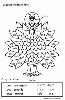 Colors In Spanish Worksheet Luxury Color by Numbers In Spanish Thanksgiving Worksheet
