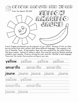 Colors In Spanish Worksheet Unique Color Words In English French Spanish Coloring and