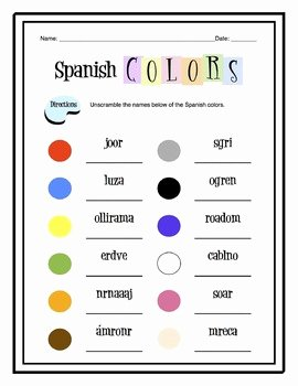 Colors In Spanish Worksheet Unique Spanish Colors Worksheet Packet by Sunny Side Up Resources