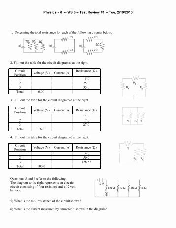 Combination Circuits Worksheet with Answers Lovely Series and Parallel Circuits Worksheet Hopkinton School