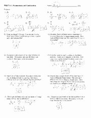 Combinations and Permutations Worksheet Best Of Permutations and Binations Worksheet with Answers