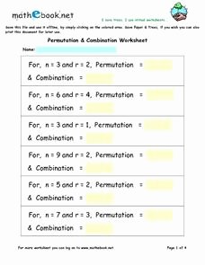 Combinations and Permutations Worksheet Fresh Permutation and Bination Worksheet 7th 9th Grade