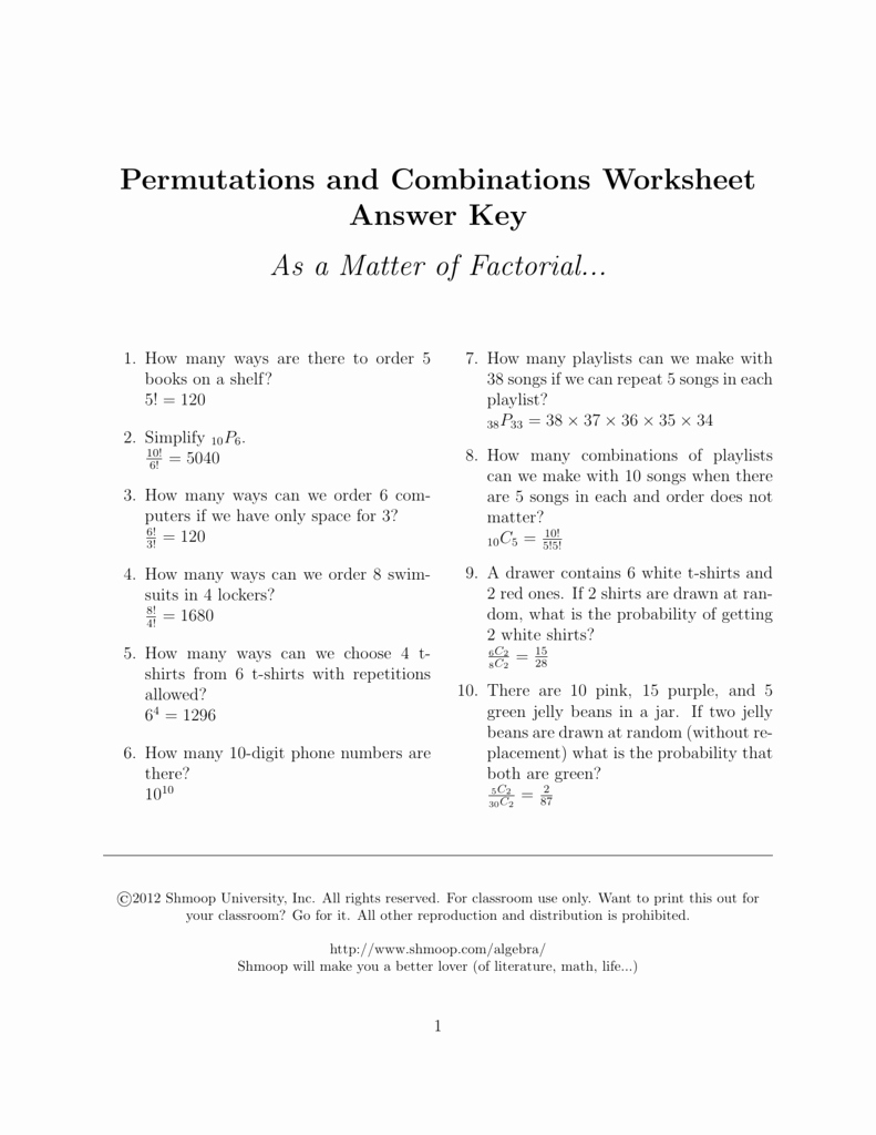 Combinations and Permutations Worksheet Lovely Permutations and Binations Worksheet Answer Key