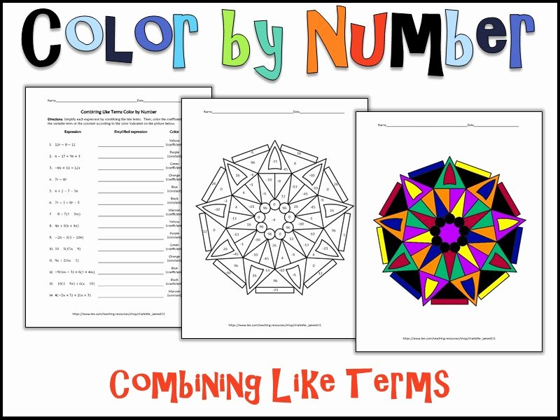 Combining Like Terms Equations Worksheet Best Of Bining Like Terms Color by Number by Charlotte James615