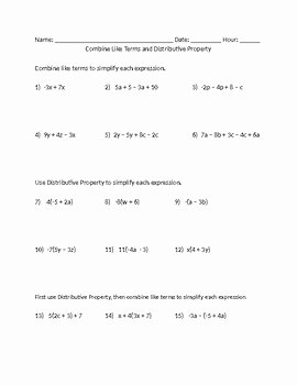 Combining Like Terms Equations Worksheet Elegant Bine Like Terms and Distributive Property Worksheet by