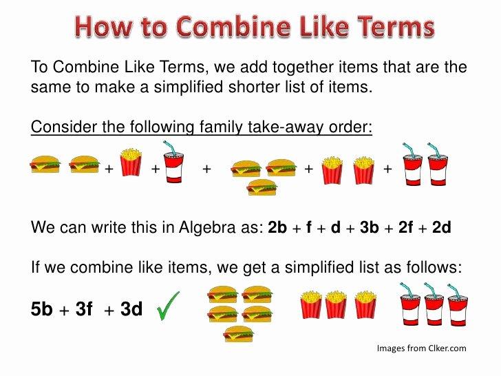Combining Like Terms Equations Worksheet Elegant Bining Algebra Like Terms