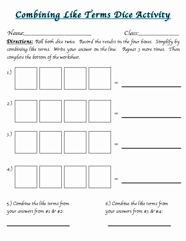 Combining Like Terms Equations Worksheet Fresh Bining Like Terms Worksheets
