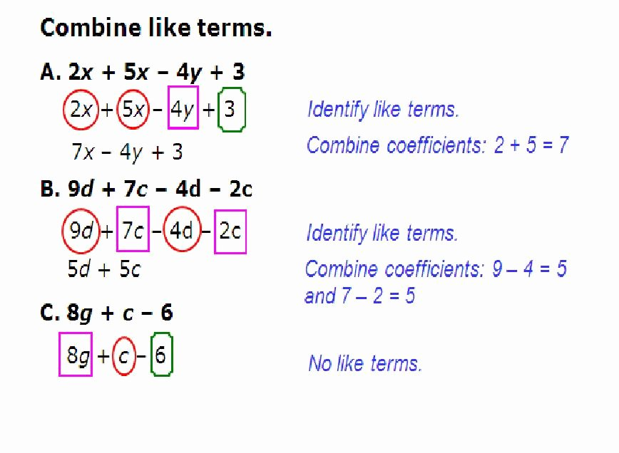 Combining Like Terms Equations Worksheet Lovely Parts Of An Expression and Bining Like Terms Fcms