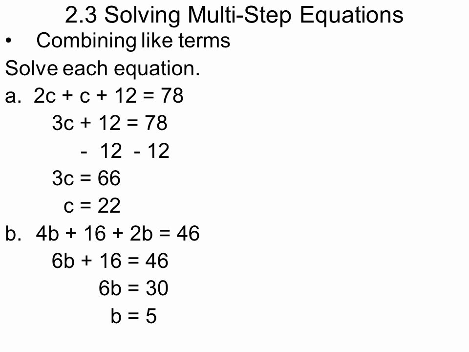 Combining Like Terms Equations Worksheet Luxury Bining Like Terms E Step Equations Worksheet