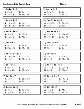 Combining Like Terms Practice Worksheet Awesome Bining Like Terms Quiz Test assessment Worksheets