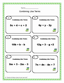 Combining Like Terms Practice Worksheet Beautiful Free Bine Like Terms Worksheets Algebra by Apple