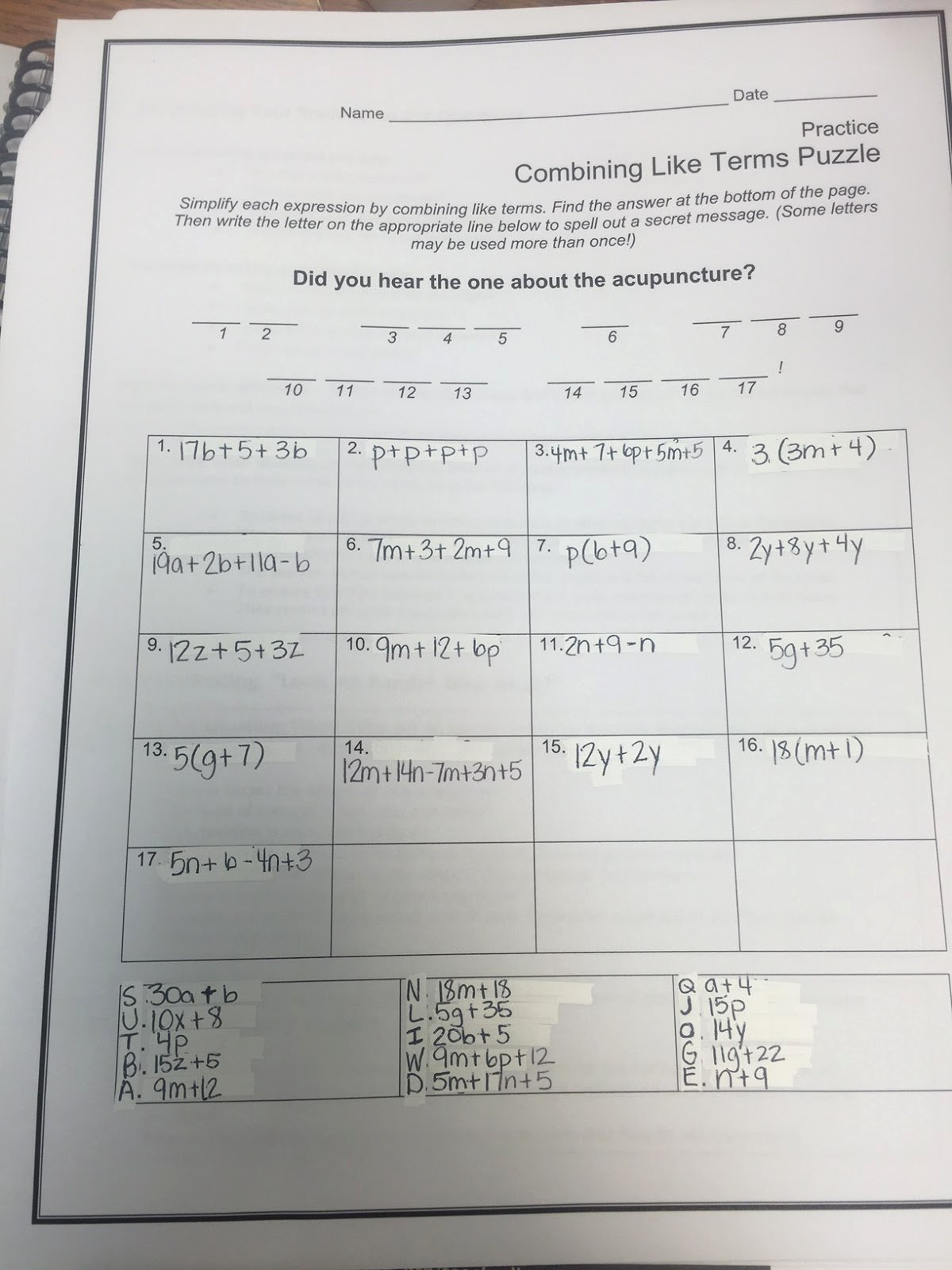 Combining Like Terms Practice Worksheet Elegant Mrs White S 6th Grade Math Blog Bining Like Terms