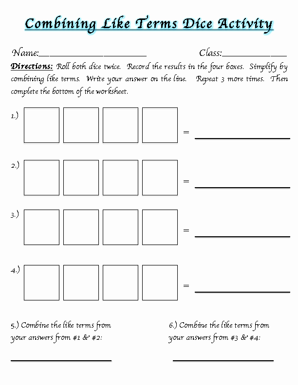 Combining Like Terms Practice Worksheet Lovely Middle School Math Madness Bining Like Terms