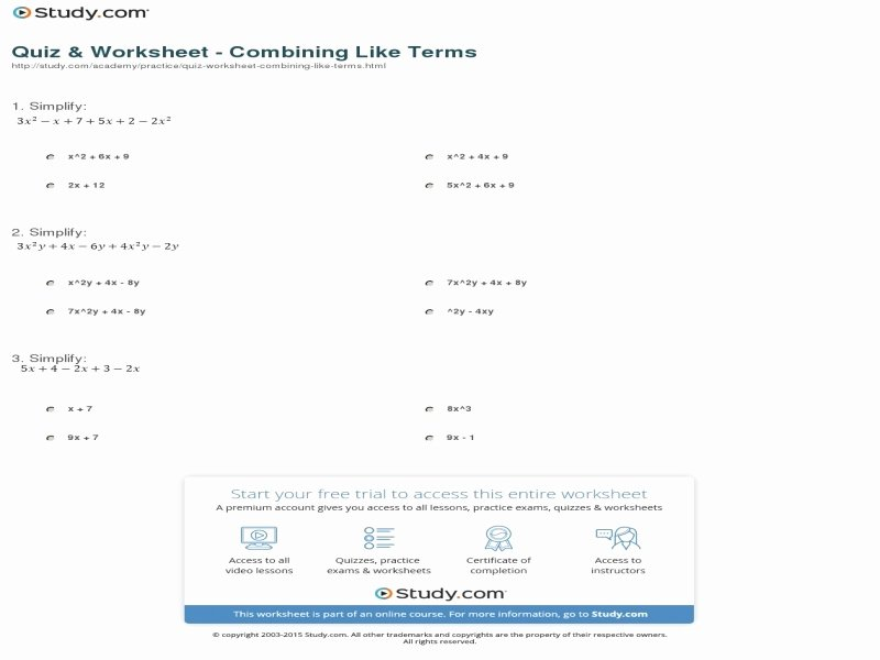 Combining Like Terms Practice Worksheet Luxury Quiz & Worksheet Bining Like Terms