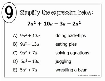 Combining Like Terms Practice Worksheet Unique Bining Like Terms Math Lib by All Things Algebra