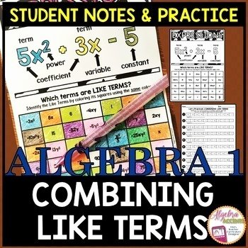 Combining Like Terms Practice Worksheet Unique Bining Like Terms Student Notes and Practice by Algebra