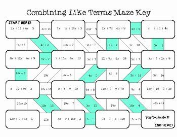 Combining Like Terms Practice Worksheet Unique Math Bining Like Terms Maze Worksheets Math Best Free