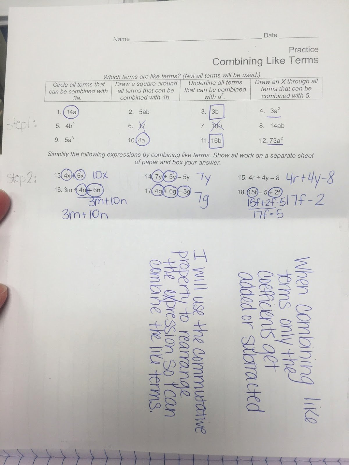 Combining Like Terms Practice Worksheet Unique Mrs White S 6th Grade Math Blog December 2015
