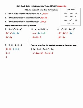 Combining Like Terms Worksheet Answers Awesome Bining Like Terms Quiz and Retake with Answer Key