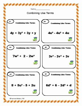 Combining Like Terms Worksheet Answers Elegant Bining Like Terms 42 Task Cards Worksheets