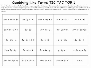 Combining Like Terms Worksheet Answers Fresh Bining Like Terms Game by Idea Galaxy
