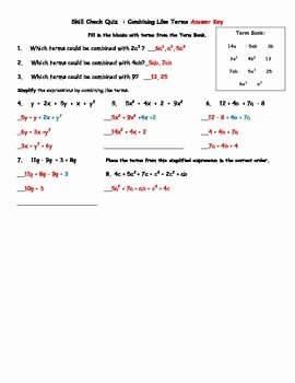Combining Like Terms Worksheet Answers Lovely Bining Like Terms Quiz and Retake with Answer Key