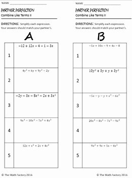 Combining Like Terms Worksheet Answers Unique Bining Like Terms Differentiated Partner Worksheet by