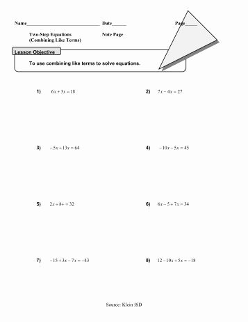 Combining Like Terms Worksheet Awesome Bining Like Terms Practice