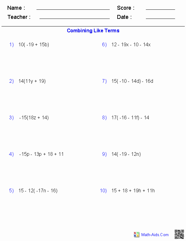 Combining Like Terms Worksheet Fresh Algebra 1 Worksheets
