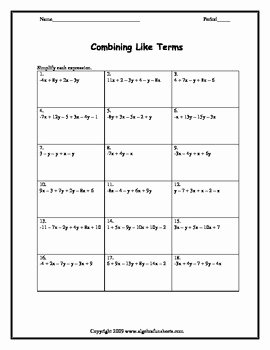 Combining Like Terms Worksheet Fresh Bining Like Terms Two Variables Worksheet by Algebra