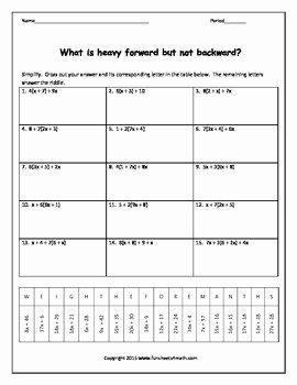 Combining Like Terms Worksheet Fresh Bining Like Terms with Distributive Positives Ly