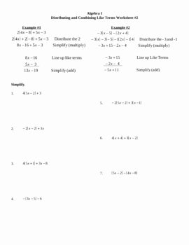 Combining Like Terms Worksheet Fresh Distributing and Bining Like Terms Worksheet 2 by