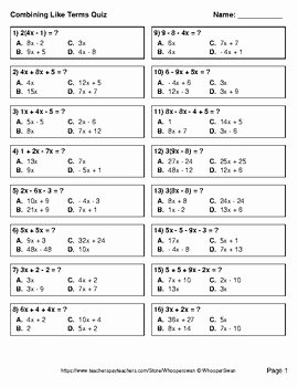 Combining Like Terms Worksheet Luxury Bining Like Terms Quiz Test assessment Worksheets