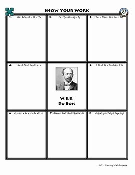 Combining Like Terms Worksheet New Person Puzzle Bining Like Terms W E B Du Bois