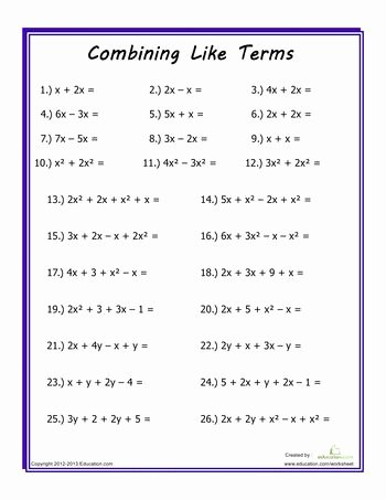 Combining Like Terms Worksheet Pdf Elegant Bining Like Terms