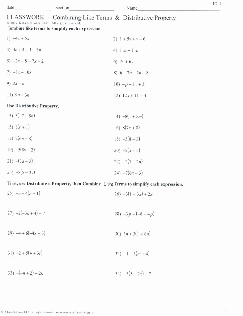 Combining Like Terms Worksheet Pdf Elegant Bining Like Terms Practice Worksheet Math Worksheets
