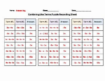 Combining Like Terms Worksheet Pdf Fresh Bining Like Terms 3 Piece Puzzle by Kathryn Goodhart