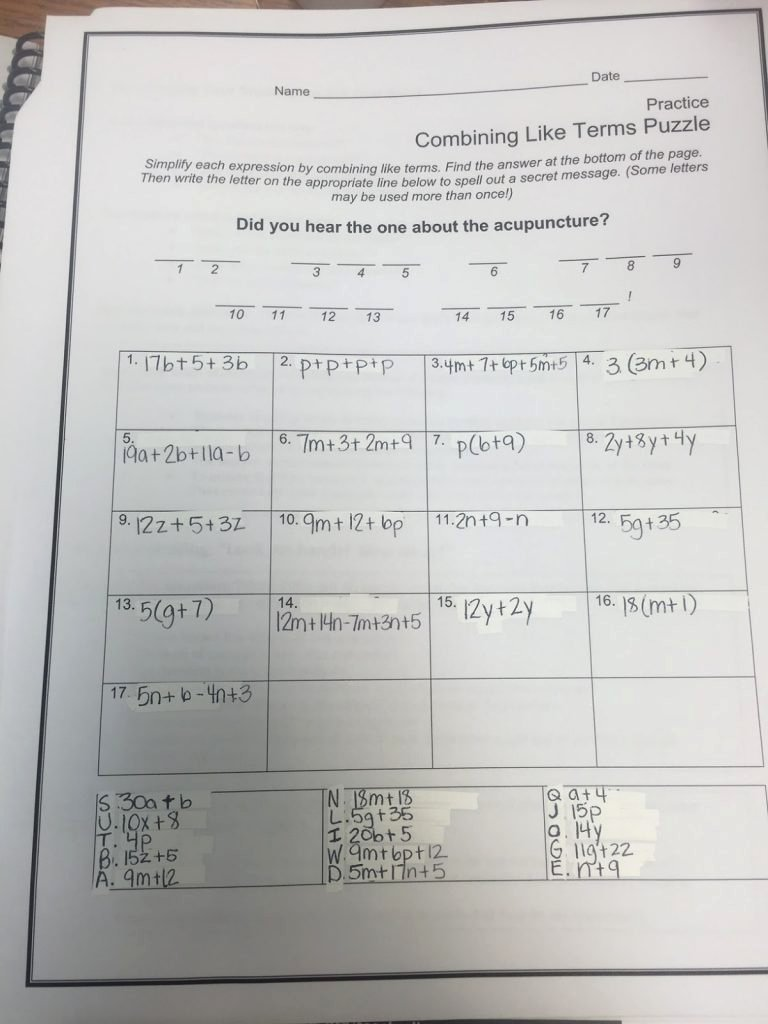 Combining Like Terms Worksheet Pdf Unique Bining Like Terms Practice Worksheet Math Worksheets