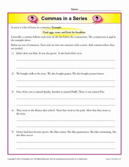 Commas In A Series Worksheet Awesome Mas In A Series