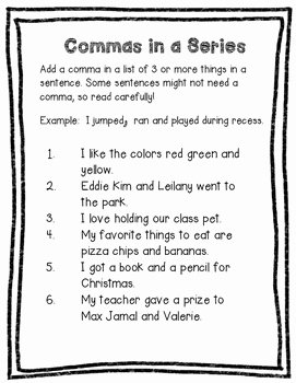 Commas In A Series Worksheet Awesome Mas In A Series Worksheet by Valnt