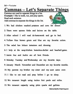 Commas In A Series Worksheet Beautiful 1000 Images About Mas On Pinterest
