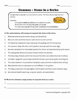 Commas In A Series Worksheet Fresh Mas Items In A Series Grammar Practice Page