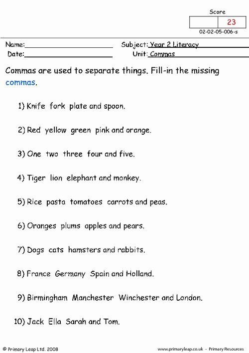 Commas In A Series Worksheet Inspirational Mas