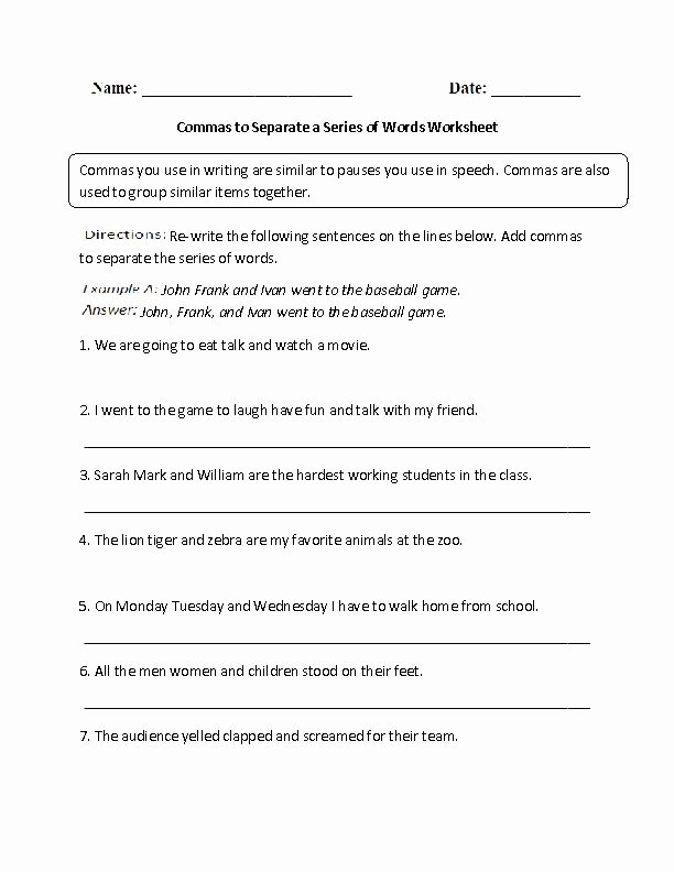 Commas In A Series Worksheet Inspirational Mas to Separate A Series Of Words Worksheet